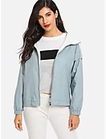 cheap -Women's Sports / Holiday Basic Fall & Winter Short Coat, Solid Colored Sun Flower V Neck Long Sleeve Faux Linen Print Light Blue