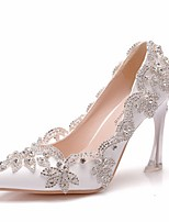 cheap -Women's Wedding Shoes Stiletto Heel Pointed Toe PU Spring & Summer White / Pink