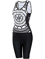 cheap -21Grams Women's Sleeveless Triathlon Tri Suit Black / White Patchwork Bike Clothing Suit UV Resistant Breathable Quick Dry Sweat-wicking Sports Patchwork Mountain Bike MTB Road Bike Cycling Clothing
