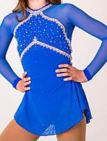 cheap -Figure Skating Dress Women's Girls' Ice Skating Dress Blue Patchwork Spandex High Elasticity Training Competition Skating Wear Patchwork Crystal / Rhinestone Long Sleeve Ice Skating Figure Skating