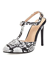 cheap -Women's Heels Print Shoes Stiletto Heel Pointed Toe Buckle PU Spring & Summer Black / White / Red / White / Party & Evening / Party & Evening