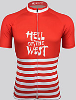 cheap -21Grams Men's Short Sleeve Cycling Jersey 100% Polyester Red / White American / USA Bike Jersey Top Mountain Bike MTB Road Bike Cycling UV Resistant Breathable Quick Dry Sports Clothing Apparel