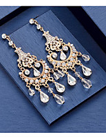 cheap -Women's Crystal Hoop Earrings Chandelier Love Classic Vintage Earrings Jewelry White / Gold For Wedding Party 1 Pair
