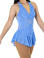 cheap -Figure Skating Dress Women's Girls' Ice Skating Dress Blue Patchwork Spandex High Elasticity Training Competition Skating Wear Crystal / Rhinestone Long Sleeve Ice Skating Figure Skating