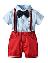 cheap -Kids Toddler Boys' Basic Birthday Party Party & Evening Striped Short Sleeve Regular Regular Clothing Set Light Blue
