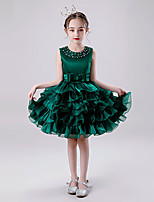 cheap -Princess Dress Girls' Movie Cosplay Cosplay Halloween Dark Green / Light Blue Dress Halloween Carnival Masquerade Tulle Polyester