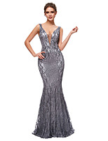 cheap -Mermaid / Trumpet V Neck Sweep / Brush Train Polyester Gray Engagement / Formal Evening Dress 2020 with Sequin / Tier