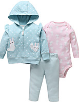 cheap -Baby Girls' Basic Print Long Sleeve Regular Clothing Set Fuchsia