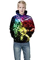 cheap -Kids Boys' Active Punk & Gothic Color Block 3D Paisley Long Sleeve Hoodie & Sweatshirt Black
