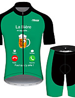 cheap -21Grams Men's Short Sleeve Cycling Jersey with Shorts Black / Green Oktoberfest Beer Bike UV Resistant Quick Dry Sports Solid Color Mountain Bike MTB Road Bike Cycling Clothing Apparel / Stretchy