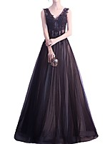 cheap -A-Line V Neck Floor Length Polyester Elegant Formal Evening / Holiday Dress 2020 with Appliques