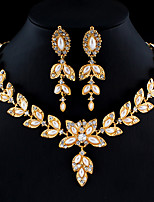 cheap -Women's Gold Hoop Earrings Necklace Bridal Jewelry Sets Classic Leaf Stylish Basic Africa Earrings Jewelry Gold For Wedding Party Engagement Two-piece Suit