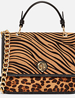cheap -Women's PU Top Handle Bag Animal Brown