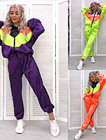 cheap -Women's 2-Piece Full Zip Tracksuit Sweatsuit 2pcs Hooded Running Fitness Jogging Sportswear Windproof Breathable Soft Athletic Clothing Set Long Sleeve Activewear Micro-elastic Regular Fit