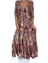 cheap -Women's Elegant Swing Dress - Geometric Wine S M L XL