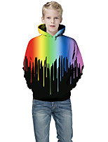 cheap -Kids Boys' Active Punk & Gothic Color Block 3D Rainbow Long Sleeve Hoodie & Sweatshirt Black