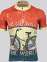 cheap -21Grams Men's Short Sleeve Cycling Jersey 100% Polyester Red Funny Bike Jersey Top Mountain Bike MTB Road Bike Cycling UV Resistant Breathable Quick Dry Sports Clothing Apparel / Stretchy / Race Fit