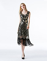 cheap -Flapper Girl Costume Adults Women's Vintage Theme Carnival Theme Party Costumes Women's Dance Costumes Sequined Tassel Dresses