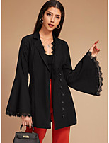 cheap -Women's Holiday / Going out Basic Fall & Winter Short Coat, Solid Colored Sun Flower V Neck Long Sleeve Faux Linen Print Black