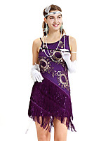 cheap -The Great Gatsby Retro Vintage 1920s Summer Flapper Dress Dress Women's Sequins Tassel Fringe Sequin Costume Purple Vintage Cosplay Event / Party Sleeveless Knee Length