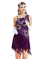 abordables -Gatsby Rétro Vintage Années 1920 Eté Robe à clapet Robe Femme Paillettes Franges Paillette Costume Violet Vintage Cosplay Soirée / Fête Sans Manches Mi-long