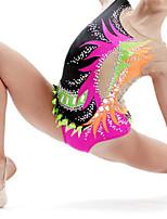 cheap -21Grams Rhythmic Gymnastics Leotards Artistic Gymnastics Leotards Women's Girls' Leotard Black Spandex High Elasticity Handmade Jeweled Diamond Look Sleeveless Competition Dance Rhythmic Gymnastics
