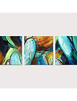 cheap -Oil Painting Hand Painted - Abstract Pop Art Modern Stretched Canvas / Three Panels