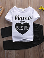 cheap -Baby Girls' Active / Basic Print / Solid Colored Print Short Sleeve Short Clothing Set White