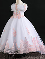 cheap -Princess Dress Flower Girl Dress Girls' Movie Cosplay A-Line Slip Cosplay White / Pink Dress Halloween Carnival Masquerade Tulle Polyester