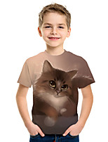 cheap -Kids Boys' Active Street chic Cat 3D Animal Print Short Sleeve Tee Brown