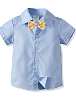 cheap -Kids Toddler Boys' Basic Street chic Solid Colored Short Sleeve Shirt Blue