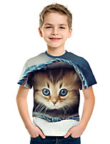 cheap -Kids Boys' Active Street chic Cat 3D Animal Print Short Sleeve Tee Rainbow