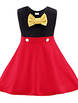 cheap -Kids Toddler Girls' Sweet Cute Color Block Cartoon Bow Sleeveless Above Knee Dress Red