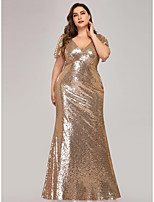 cheap -Mermaid / Trumpet V Neck Floor Length Sequined Sparkle / Sexy Engagement / Prom / Wedding Guest Dress 2020 with Sequin