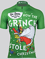 cheap -21Grams Men's Short Sleeve Cycling Jersey 100% Polyester Green Santa Claus Bike Jersey Top Mountain Bike MTB Road Bike Cycling UV Resistant Breathable Quick Dry Sports Clothing Apparel / Stretchy