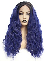 cheap -Synthetic Lace Front Wig Wavy Gaga Middle Part Lace Front Wig Long Ombre Blue Synthetic Hair 22-26 inch Women's Heat Resistant Women Hot Sale Blue Ombre / Glueless