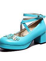 cheap -Women's Heels Chunky Heel Round Toe PU Spring &  Fall Black / White / Purple
