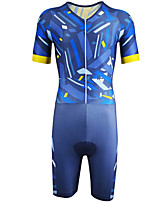 cheap -21Grams Men's Short Sleeve Triathlon Tri Suit Blue+Yellow Stripes Geometic Bike Clothing Suit UV Resistant Breathable 3D Pad Quick Dry Sweat-wicking Sports Solid Color Mountain Bike MTB Road Bike