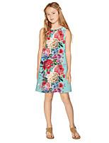 cheap -Kids Girls' Active Sweet Floral Print Sleeveless Knee-length Dress Blue