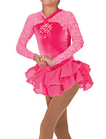 cheap -Figure Skating Dress Women's Girls' Ice Skating Dress Pink Spandex High Elasticity Training Competition Skating Wear Patchwork Crystal / Rhinestone Long Sleeve Ice Skating Figure Skating