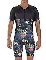 cheap -21Grams Men's Short Sleeve Triathlon Tri Suit Black / Blue Floral Botanical Bike Clothing Suit UV Resistant Breathable Quick Dry Sweat-wicking Sports Floral Botanical Mountain Bike MTB Road Bike