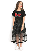 cheap -Kids Girls' Basic Solid Colored Short Sleeve Clothing Set Black