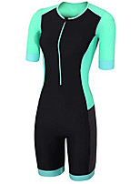 cheap -21Grams Women's Short Sleeve Triathlon Tri Suit Black / Green Bike Clothing Suit UV Resistant Breathable Quick Dry Sweat-wicking Sports Solid Color Mountain Bike MTB Road Bike Cycling Clothing Apparel