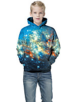 cheap -Kids Boys' Active Punk & Gothic Galaxy Color Block 3D Long Sleeve Hoodie & Sweatshirt Blue