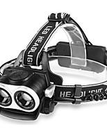 abordables -Lampes Frontales Imperméable 800 lm LED LED 2 Émetteurs avec Chargeur Imperméable Portable Camping / Randonnée / Spéléologie Usage quotidien Cyclisme Noir