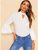 cheap -Women's Holiday Going out Blouse - Solid Colored White