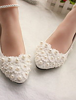 cheap -Women's Wedding Shoes Glitter Crystal Sequined Jeweled Flat Heel Round Toe PU Winter White