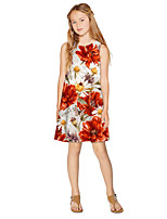 cheap -Kids Girls' Active Sweet Floral Print Sleeveless Knee-length Dress Red