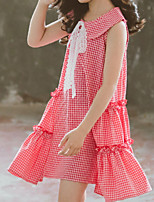 cheap -Toddler Girls' Plaid Sleeveless Above Knee Dress Fuchsia