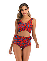 cheap -Women's Basic Black Blue Red Bandeau Cheeky High Waist Bikini Swimwear - Floral Geometric Lace up Print S M L Black
